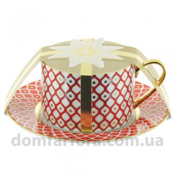 Чашка с блюдцем чайная форма Идиллия рисунок Скарлетт 1
