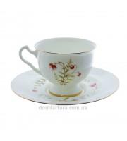 Чашка с блюдцем форма Айседора рисунок Клюква