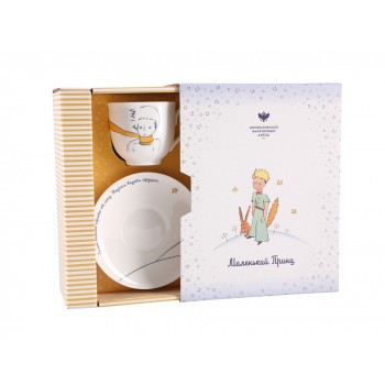 Чашка с блюдцем форма Ландыш рисунок Портрет Маленького принца
