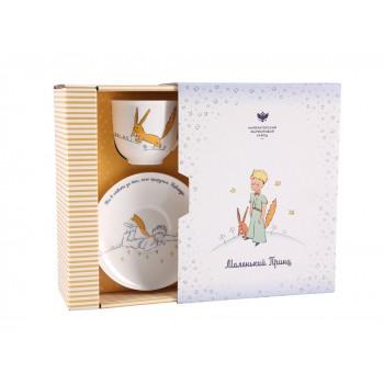 Чашка с блюдцем форма Ландыш рисунок Маленький принц и Лис