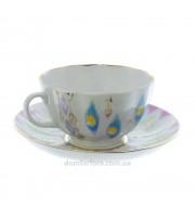 Чашка с блюдцем форма Тюльпан рисунок Перо павлина