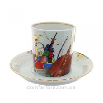 Чашка с блюдцем форма Гербовая рисунок Музыкальные инструменты