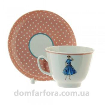 Чашка с блюдцем форма Подарочная рисунок Оттепель (розовый)
