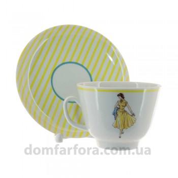 Чашка с блюдцем форма Подарочная рисунок Оттепель(желтый)
