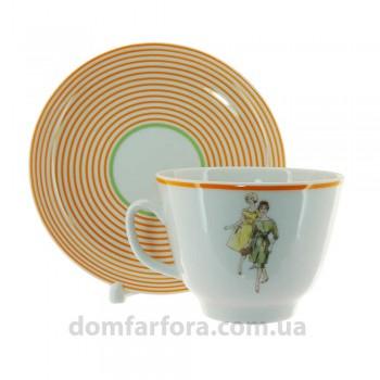 Чашка с блюдцем форма Подарочная рисунок Оттепель(оранжевый)