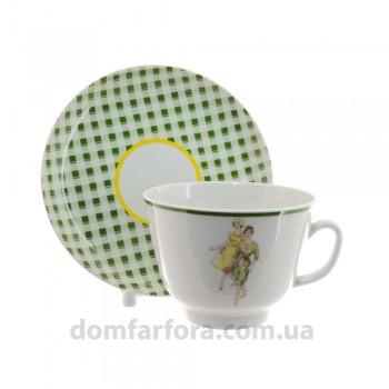 Чашка с блюдцем форма Подарочная рисунок Оттепель(зеленый)
