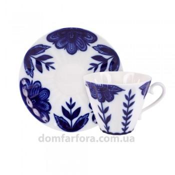 Чашка с блюдцем форма Лучистая рисунок Флер (AURORA)