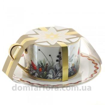 Чашка с блюдцем чайная форма Идиллия рисунок Календа