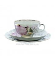 Трехпредметный комплект форма Тюльпан рисунок Розовые тюльпаны