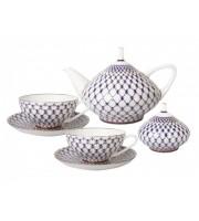 Сервиз чайный форма Купольная рисунок Кобальтовая сетка 6 персон 14 предметов