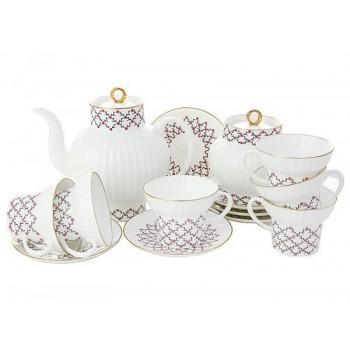 Сервиз чайный форма Волна рисунок Розовая сетка 6 персон 20 предметов