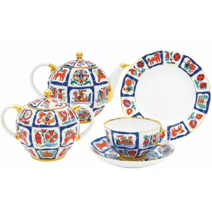 Сервиз чайный форма Тюльпан рисунок Русский лубок- 20 предметов на 6 персон