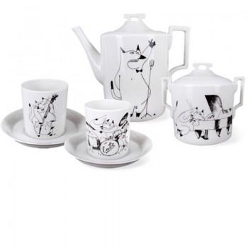 Сервиз чайный форма Гербовая рисунок Котовый Джаз 6 персон 14 предметов