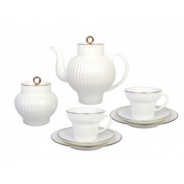 Сервиз чайный форма Волна рисунок Золотой кантик 6 персон 20 предметов
