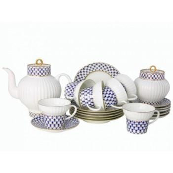 Сервиз чайный форма Волна рисунок Кобальтовая сетка 6 персон 20 предметов