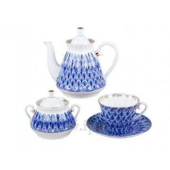 Сервиз чайный  форма Лучистая рисунок Незабудка 6 персон 20 предметов