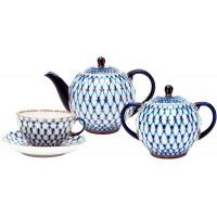 Сервиз чайный форма Тюльпан рисунок Кобальтовая сетка 6 персон 14 предметов