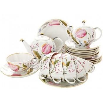 Сервиз чайный форма Тюльпан рисунок Розовые Тюльпаны 6 персон 20 предметов