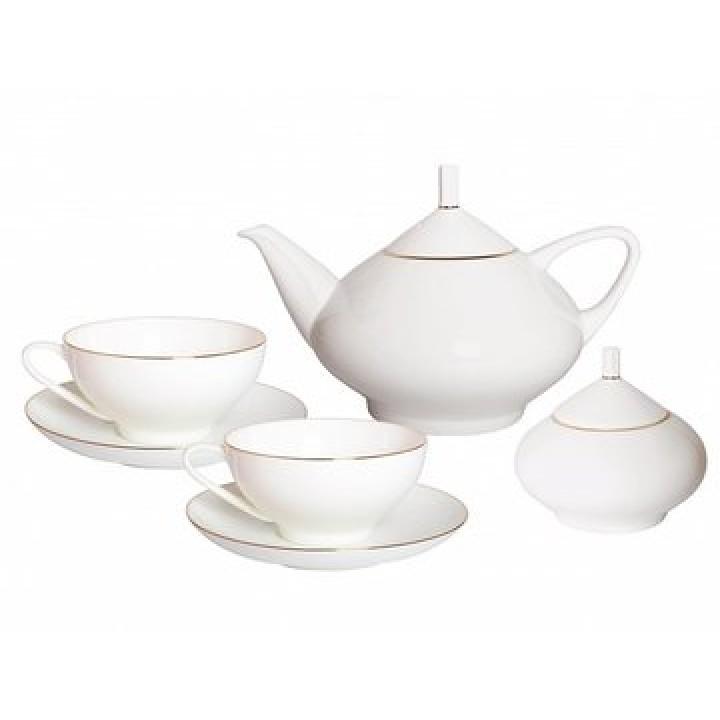 Сервиз чайный форма Купольная рисунок Золотая лента 6 персон 14 предметов