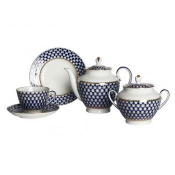 Сервиз чайный форма Весенняя рисунок Кобальтовая сетка 6 персон 20 предметов