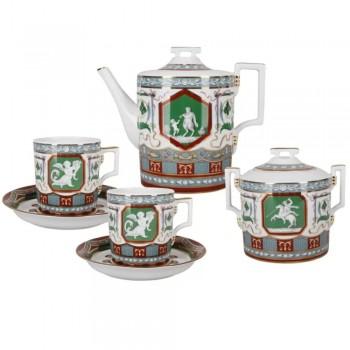Сервиз чайный форма гербовая рисунок Античный 6 персон 14 предметов