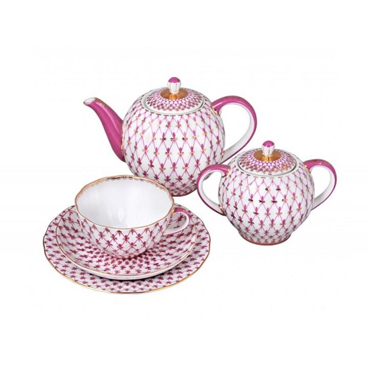 Сервиз чайный форма Тюльпан рисунок Сетка-блюз 6 персон 20 предметов