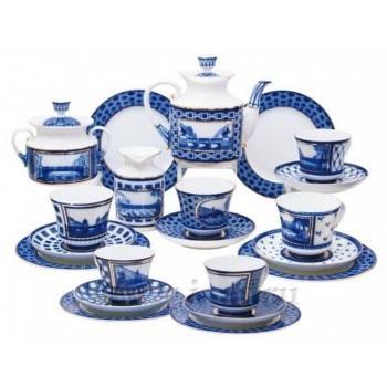 Сервиз чайный форма Банкетная рисунок Мосты Санкт-Петербурга 6 персон 20 предметов
