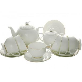 Сервиз чайный форма Жемчужина рисунок Золотая лента 6 персон 14 предметов