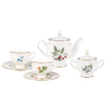 Сервиз чайный форма Айседора рисунок Цветы и ягоды 6 персон 14 предметов
