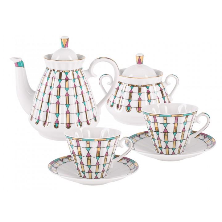 Сервиз чайный форма Лучистая рисунок Геометрия цвета 6 персон 14 предметов