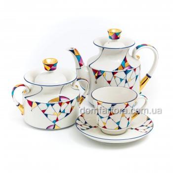 Сервиз чайный форма Банкетная рисунок Калейдоскоп 6 персон 14 предметов