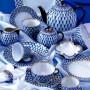 Сервиз чайный форма Тюльпан рисунок Кобальтовая сетка 6 персон 20 предметов