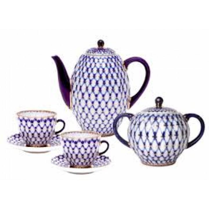 Сервиз кофейный форма Тюльпан рисунок Кобальтовая сетка 6 персон 14 предметов