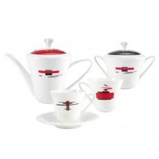 Сервиз чайный форма Сад рисунок Красное и черное