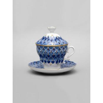 Чашка с блюдцем и крышкой чайная Подарочная-2 Чешуйка
