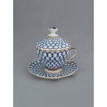 Чашка с блюдцем и крышкой чайная Подарочная-2 Кобальтовая сетка