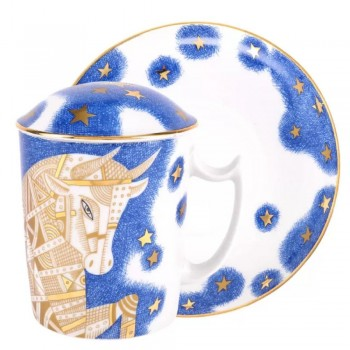 Бокал с блюдцем и крышкой форма Снежное утро рисунок Золотой Бык