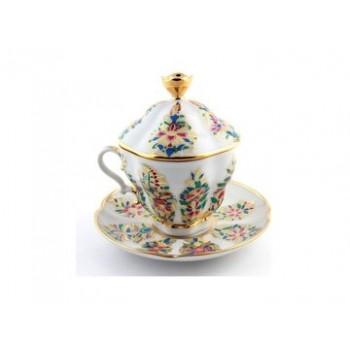 Чашка с блюдцем Подарочная-2 Фантастические цветы