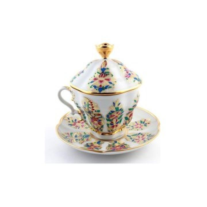 Чашка с блюдцем форма Подарочная-2 рисунок Фантастические цветы
