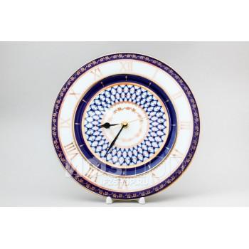 Часы декоративные 270 мм форма «Европейская 2» рисунок «Кобальтовая сетка»