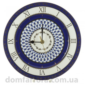 Часы декоративные 270 мм форма Европейская 2 рисунок Кобальтовая сетка
