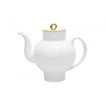 Чайник заварочный форма Волна рисунок Золотой кант