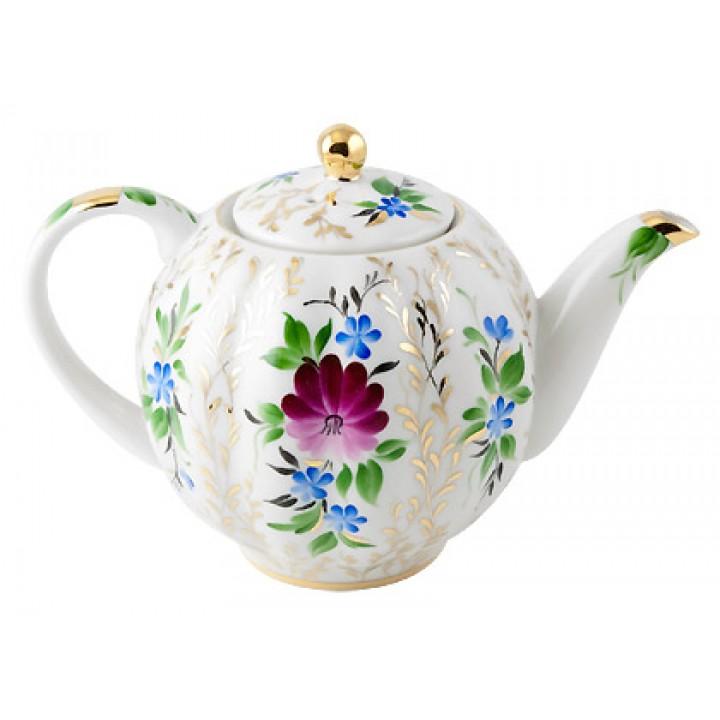 Чайник заварочный форма Тюльпан рисунок Золотые травки