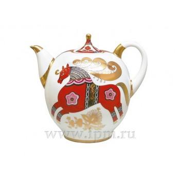 Чайник доливной форма Новгородский рисунок Красный конь