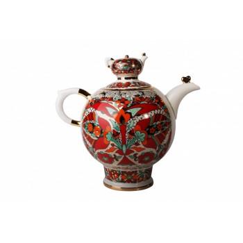 Чайник доливной форма Семейный рисунок Красный петух