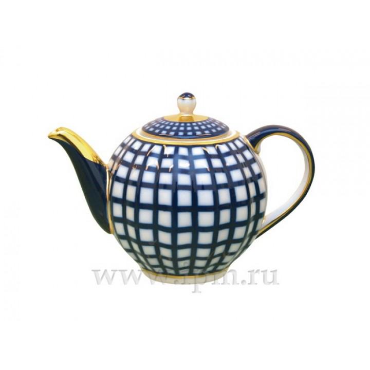 Чайник заварочный форма Тюльпан рисунок Кобальтовая клетка