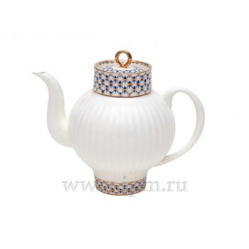Чайник заварочный форма Волна рисунок Кобальтовая сетка