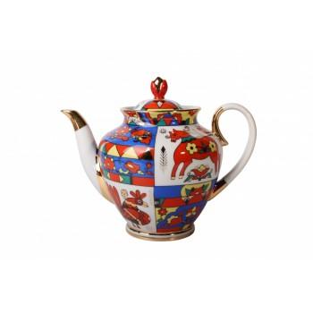 Чайник заварной форма Весенняя рисунок Народные узоры
