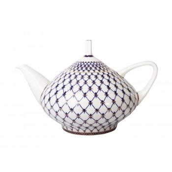 Чайник заварочный форма Купольная рисунок Кобальтовая сетка