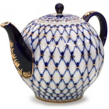 Чайник доливной форма Тюльпан рисунок Кобальтовая сетка